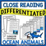 Close Reading Passages - Ocean Animals - Differentiated Re