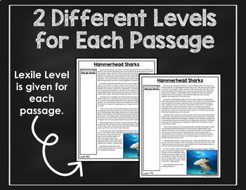 Reading Comprehension Passages and Questions Ocean Animals Close Reading