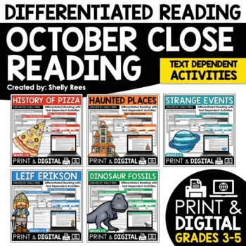 Reading Comprehension Passages and Questions - October Close Reading