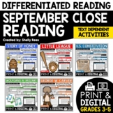 Reading Comprehension Passages and Questions - September Close Reading