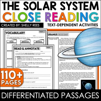 Close Reading Passages - Solar System - Differentiated Reading Passages
