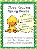 Spring Reading Comprehension Passages & Questions Pack