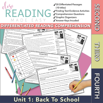 Close Reading Passages for Second, Third, and Fourth Grade - Unit 1 of 10