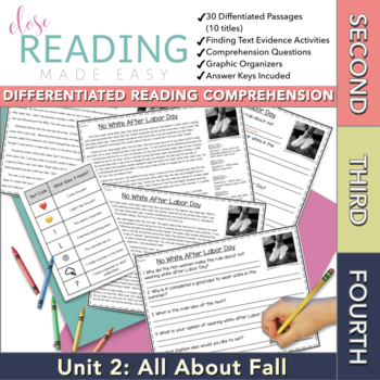 Close Reading Passages for Second, Third, and Fourth Grade - Unit 2 of 10