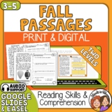 Fall Close Reading Comprehension Passages for Print and Google Classroom