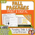 Close Reading Fall | Close Reading Autumn with Text Dependent Questions