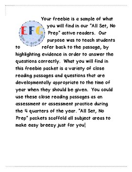 Close Reading Passages and Assessments
