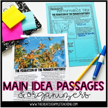 Main Idea Close Reading Passages with Graphic Organizers
