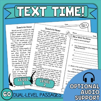 Close Reading Comprehension Passages with Questions - FREE!