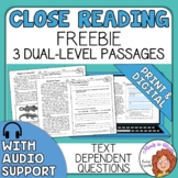 Close Reading Comprehension Passages FREE Google Classroom and Easel Activity