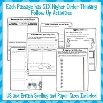 Video Games - Close Reading Comprehension Texts/Higher Order Thinking (US/NZ)