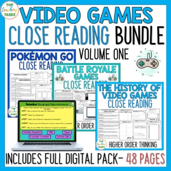 Video Games Reading Comprehension Passages and Questions Distance Learning