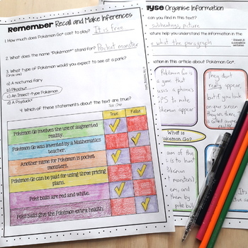 Pokemon Go Close Reading Comprehension Passages and Questions US and NZ