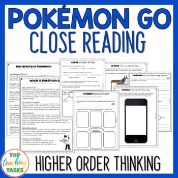 Pokemon Go Reading Comprehension Passages and Questions US and NZ