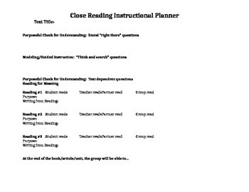 Close Reading Planner