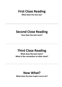 Close Reading Planning Guide Foldable®