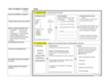 Close Reading Planning Template Guide, Common Core