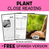 Plant Close Reading Passage Activities