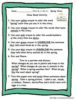 Close Reading Plus: April Activities