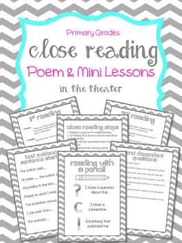 """Close Reading Poem & Mini Lessons """"In the Theater"""""""