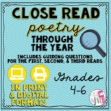 Close Reading Poetry Through the Year: Printable & Digital