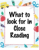Close Reading Poster