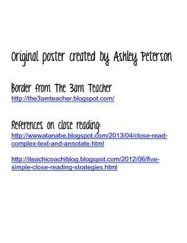 Close Reading Poster (Grades 1-3)