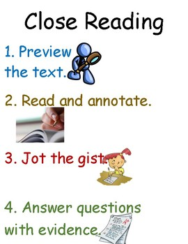 Close Reading Poster/Handout and Student Bookmarks