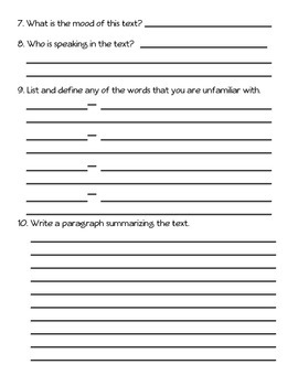 Close Reading Poster and Worksheet