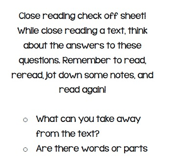 Close Reading Posters & Checklist! Questions to inspire students while reading!