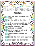 Close Reading Posters and Bookmarks