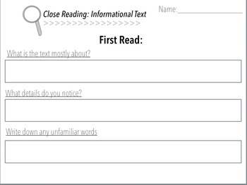 Close Reading Posters and Student Answer Sheet
