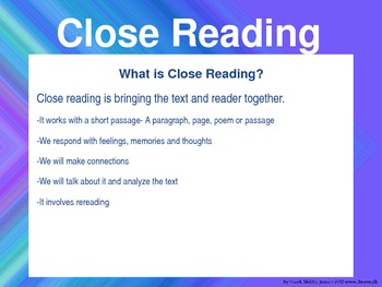 Close Reading Power Point for Informational Text * editable *