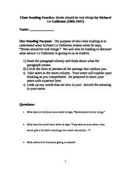 Close Reading Practice:  Books Should Be Real Things