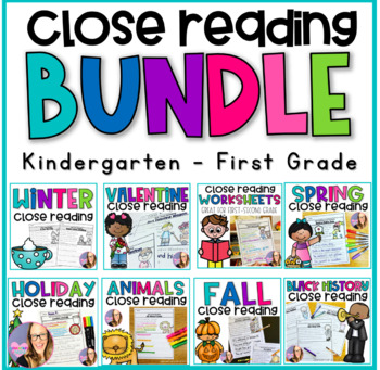 Close Reading Printables the BUNDLE- (Kindergarten and First Grade)