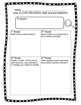 close reading planning template - close reading problem solving graphic organizer by math