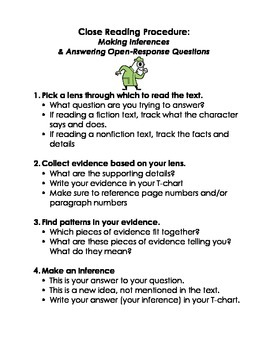 Close Reading Procedure: Making Inferences/Writing Open Responses