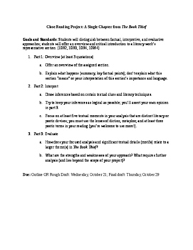 Close Reading Project: Summary, Interpretation, Evaluation (The Book Thief)