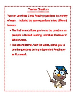Close Reading Prompts and Worksheet for Literary or NonFiction Texts