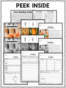 Close Reading Passage - Pumpkin Activities