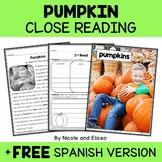 Pumpkin Close Reading Passage Activities