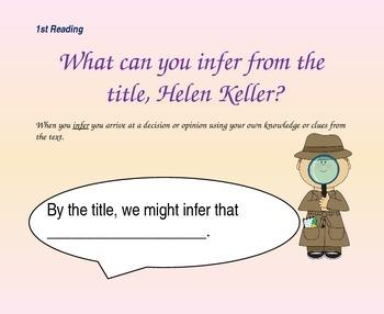 Close Reading Questioning Slides for Helen Keller