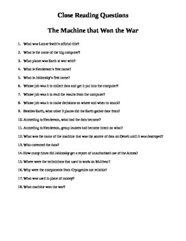 Close Reading Questions-The Machine that Won the War