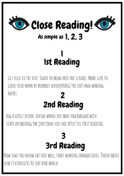 Close Reading Reading Strategy Literacy Poster Junior Intermediate Colorful