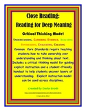 Close Reading: Reading for Deep Meaning and Critical Thinking