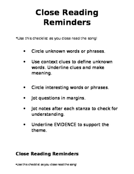 Close Reading Reminders - Editable!