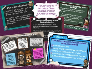 Close Reading Resources: Get S.M.A.R.T. PowerPoint, Posters, Bookmarks, GO's