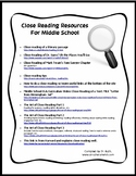 Close Reading Resources for Middle School Classrooms
