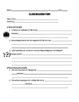 Close Reading Response Form-Use with ANY TEXT!