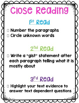 Close Reading-Road Mapping Anchor Chart